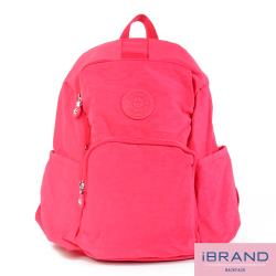 【i Brand】輕盈防潑水防盜尼龍後背包-玫紅 MDS-8526-玫紅