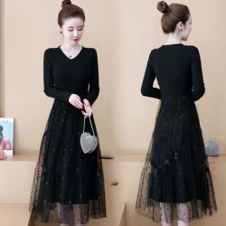 【韓國K.W. 】(預購)  羅紋線條長袖假二件式紗洋裝