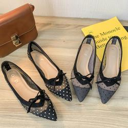 【Alice 】 (預購)名媛英倫學院優雅點點平底鞋