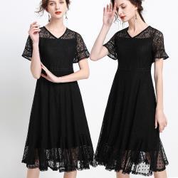 麗質達人 - 22059黑色蕾絲洋裝