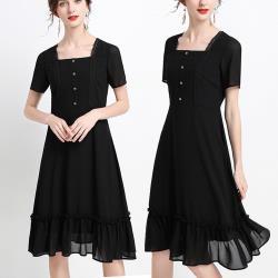 麗質達人 - 22038黑色雪紡洋裝