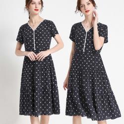 麗質達人 - 27002藍色印花洋裝