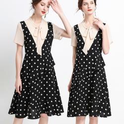 麗質達人 - 23208波點綁帶洋裝