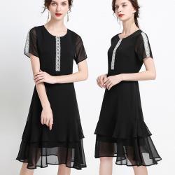 麗質達人 - 28221黑色雪紡洋裝