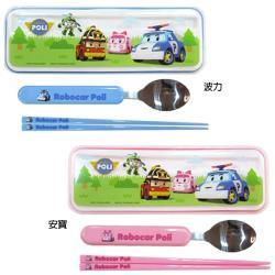 救援小英雄波力Poli兒童兒童餐具組筷子湯匙2合1環保餐具組 563102/563103【卡通小物】