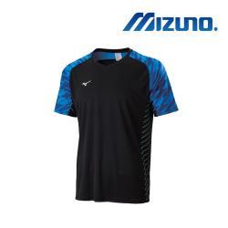 Mizuno 美津濃 男足球短袖T恤 黑x藍 P2TA010992