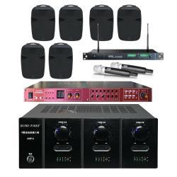 商用空間 AMP-6 擴大機+REV-9800PRO 混音機+ACT-869 PRO 麥克風+PA-15 PRO 喇叭X3對
