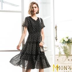 MONS波卡圓點蕾絲領飾修身洋裝