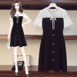 麗質達人 - 3152黑白拼色洋裝