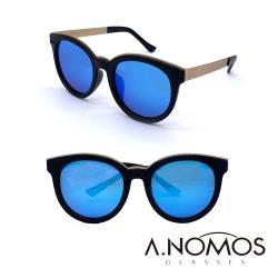 【A.NOMOS】阿尼埃爾浴場|輕時尚時尚貓眼偏光太陽眼鏡/墨鏡(6213-黑框藍水銀片)