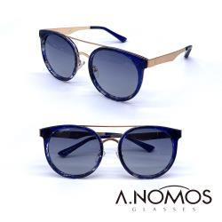 【A.NOMOS】70年代龐克夢|時尚微貓眼偏光太陽眼鏡/墨鏡(6228-藍豹框)