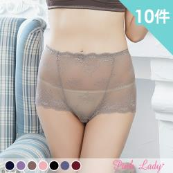 Pink Lady 古堡祕愛 性感花漾蕾絲中高腰內褲846(10件組)