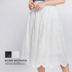 【KOMI】純棉織花鬆緊長裙‧棉裡‧二色