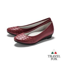 TRAVEL FOX(女) 蜜糖 牛皮淺口編織低跟淑女休閒鞋 - 酒紅