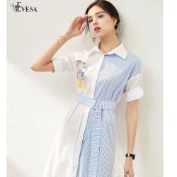 伊凡莎名媛時尚-法式清新氣質度假襯衫式洋裝