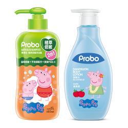 【快潔適】博寶兒 佩佩豬低敏舒緩清潔保養2件組(二合一650ml+蒲公英舒敏乳液480ml)