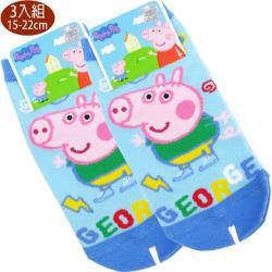 兒童襪子粉紅豬小妹喬治童襪短襪直版襪3入組15-22cm 111946【卡通小物】