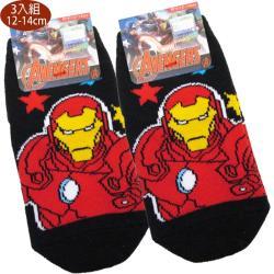 兒童襪子漫威英雄復仇者聯盟鋼鐵人童襪短襪止滑襪直版襪3入組12-14cm 111281【卡通小物】