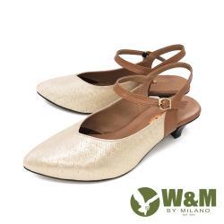 W&M(女) 歐美風 珠光舒適氣墊尖頭涼鞋 中跟鞋 - 金(另有黑)