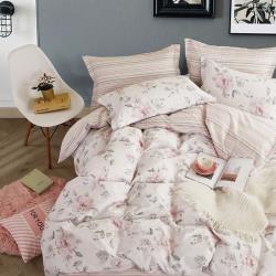 eyah宜雅 台灣製200織紗精梳棉單人床包2件組-花之境-粉