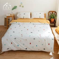 【青鳥家居】200織精梳棉雙人四件式兩用被床包組-樂活青春