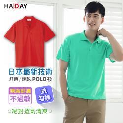 HADAY 男女裝 日本三層結點快乾結構設計 舒適吸濕排汗 短袖POLO衫 亮眼紅色-獨家布料層級 快乾 抗UV 男女適穿 舒適輕鬆穿搭