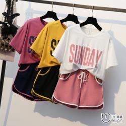 Mini嚴選-休閒運動短褲運動套裝 三色