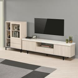 Boden-妮絲9.3尺L型石面電視櫃組合(展示低櫃+石面長櫃)