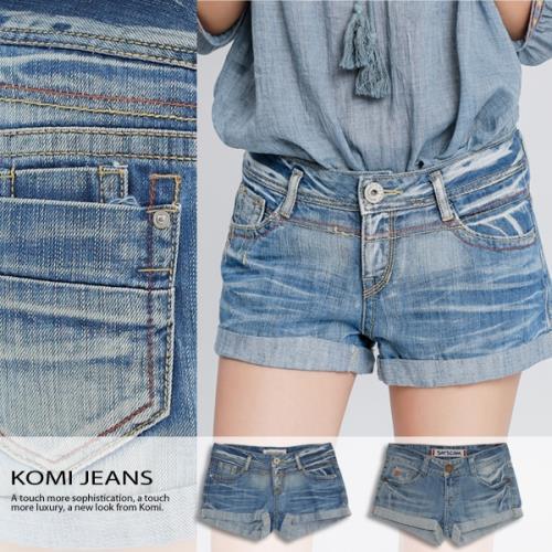 【KOMI】刷色壓線牛仔反折短褲‧二色/