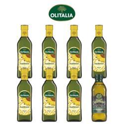 奧利塔頂級葵花油500毫升*7罐+義大利GIURLANI老樹特級初榨橄欖油500毫升*1罐