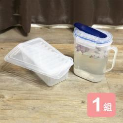 真心良品 梅莎冷水壺(1.8L)+附蓋大塊製冰盒-2入組