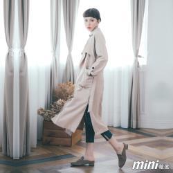 Mini嚴選-外套 造型綁帶翻領長版風衣外套 二色