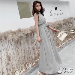 Mini嚴選-韓版慵懶風無袖收腰連身裙 二色