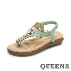 【QUEENA】唯美珍珠縷空刻花民族風T字夾腳舒適厚底涼鞋 綠