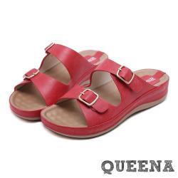 【QUEENA】時尚百搭皮帶釦飾造型舒適厚底羅馬拖鞋 紅