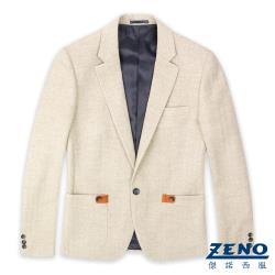 ZENO 舒適羊毛修身款獵裝外套‧淺褐