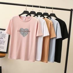 麗莎熊 LisaBear 大尺碼韓版豹紋愛心印花彈性棉T恤上衣