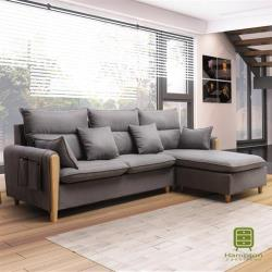 【Hampton 漢汀堡】諾里奇系列灰色L型布面沙發(沙發/休閒沙發/椅子/L型沙發)