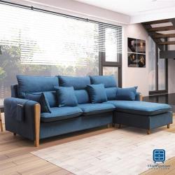 【Hampton 漢汀堡】諾里奇系列藍色L型布面沙發(沙發/休閒沙發/椅子/L型沙發)