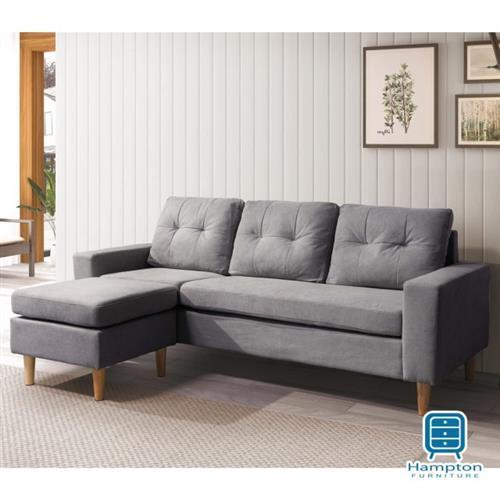 【Hampton 漢汀堡】路德L型布沙發-淺灰布(一般地區免運費/L型沙發/三人沙發)