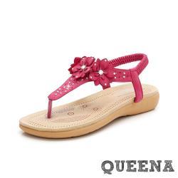 【QUEENA】唯美繡線立體花朵美鑽T字造型舒適平底羅馬涼鞋 紅