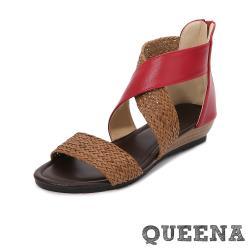 【QUEENA】百搭復古編織拼接一字交叉坡跟厚底涼鞋 紅