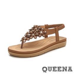 【QUEENA】波希米亞民族風美鑽立體花片T字夾腳厚底涼鞋 棕