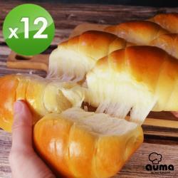 【奧瑪烘焙】日本麵粉拔絲系列牛奶麵包*12盒-口味任選(福源花生醬/起司/肉脯)