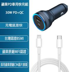 PD+QC3.0 30W雙孔車用全協議快速充電器(通過國家認證)+蘋果認證PD快充線