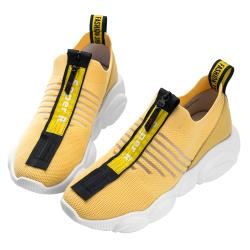 Robinlo 前衛個性拉鍊飛織免繫帶休閒鞋 POKAT-黃色