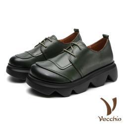 【Vecchio】真皮頭層牛皮復古拼接英倫風百搭鬆糕厚底牛津鞋 綠