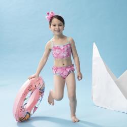 SAIN SOU女童兩截式泳裝附泳帽A822016