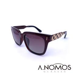 【A.NOMOS】圓點女王的狂想|復古草間風格偏光太陽眼鏡/墨鏡(6305-茶框酒紅片)