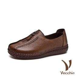 【Vecchio】真皮頭層牛皮復古手工縫線拉鍊造型舒適軟底樂福鞋 棕
